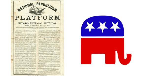 GOP Platform From 1860 With Republican Elephant Symbol
